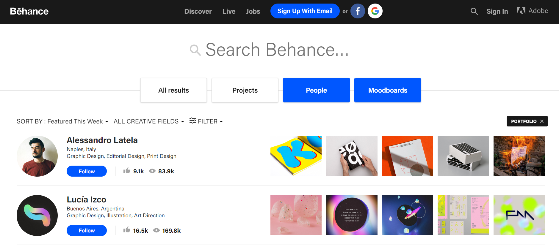 Social Media Recruiting through Behance