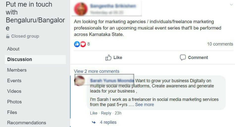 Social Media Recruiting through Facebook group/community